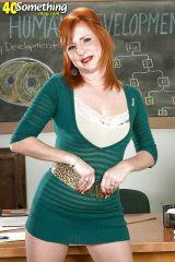 redhead teacher in nylon pantyhose sasha brand toying her twat in